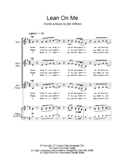 Lean On Me | Sheet Music Direct