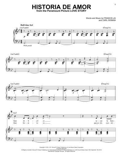 Historia De Amor | Sheet Music Direct