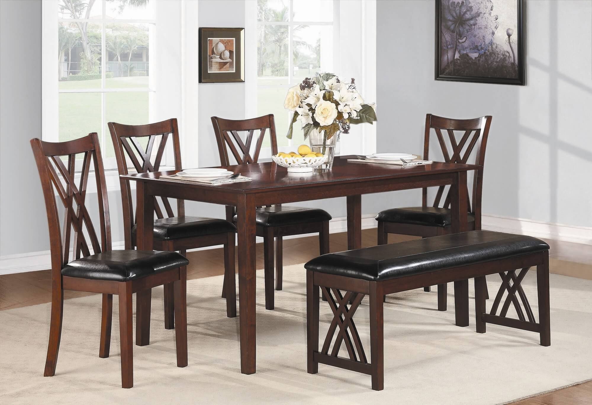 dining room sets bench seating bench for kitchen table Six piece dining set with bench with a cherry finish and upholstered chairs and bench