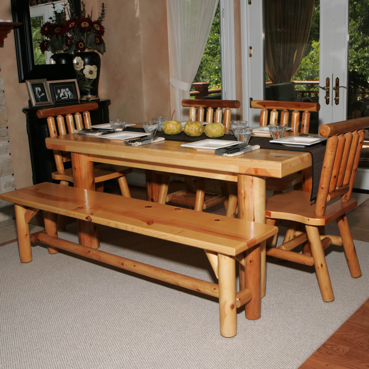 dining room sets bench seating kitchen table with benches Here s a dining table set with bench perfect for the log cabin or home Seating