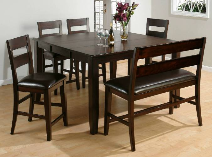 dining room sets bench seating square kitchen table Here s a counter height square dining room table with bench Moreover the bench includes