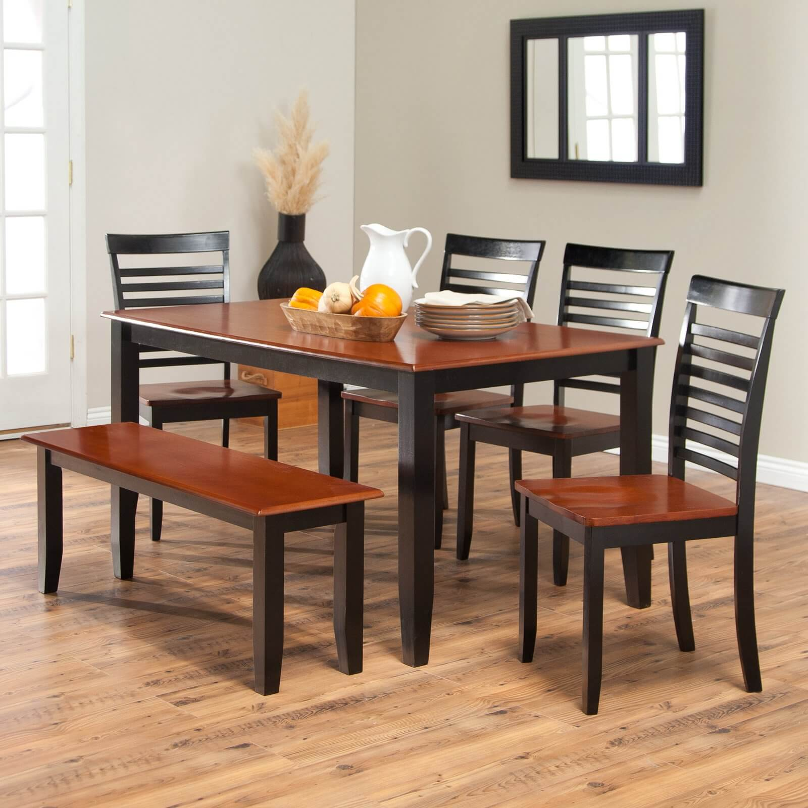 dining room sets bench seating two seat kitchen table Simple two toned dining set with bench The seats and table top are cherry