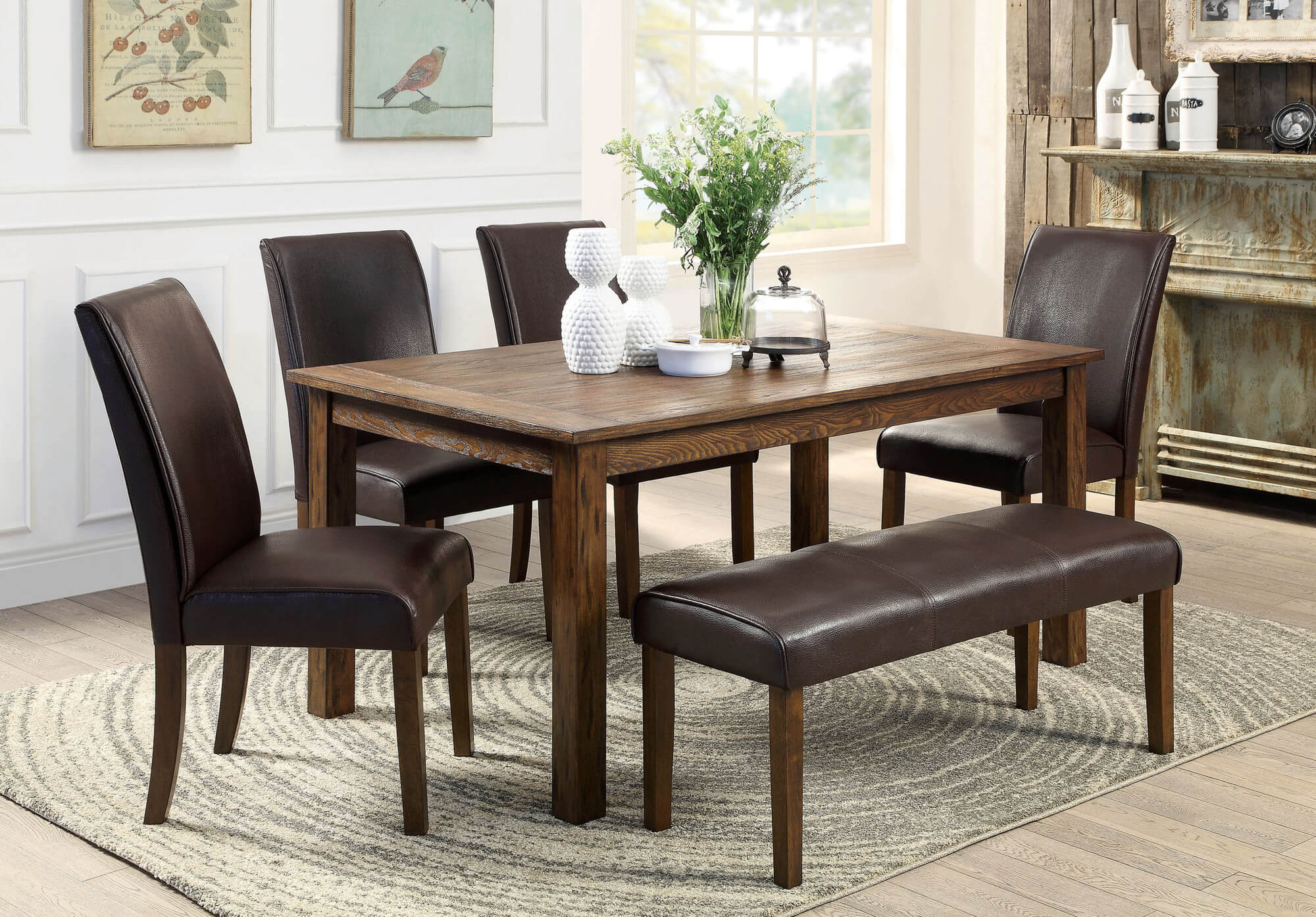 dining room sets bench seating square kitchen table Here s a rustic rectangle dining table with fully cushioned chairs and bench This look works