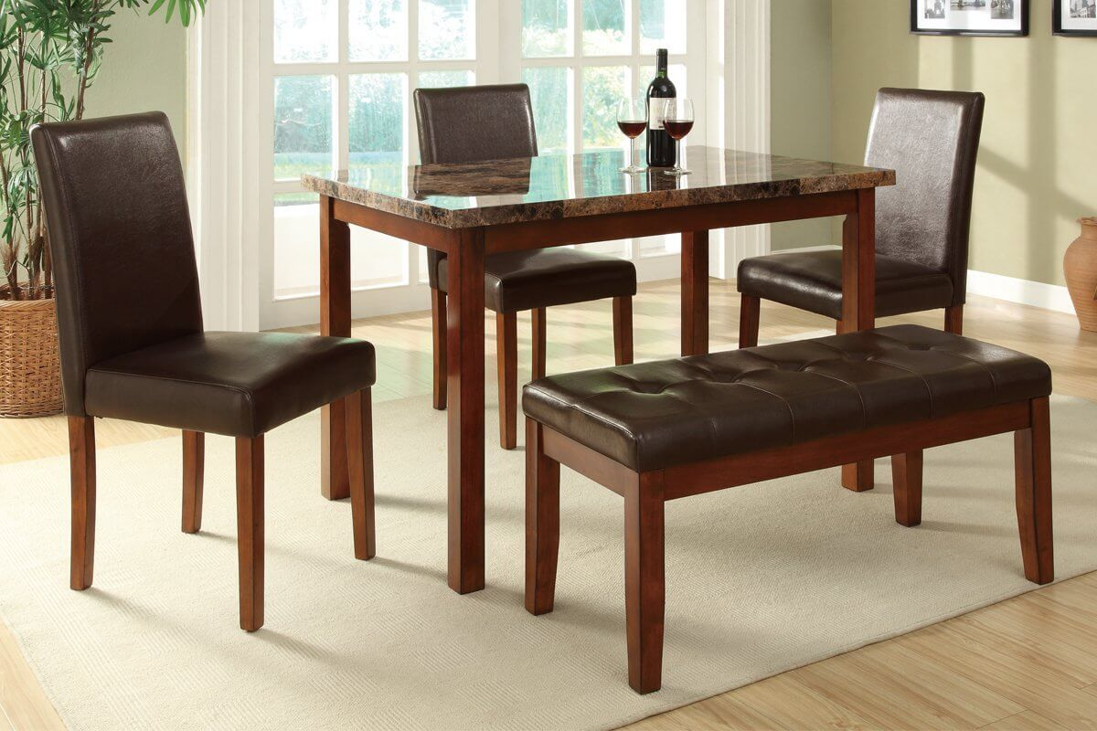 dining room sets bench seating rectangle kitchen table This is a bench dining set for a smaller space The small rectangle table accommodates