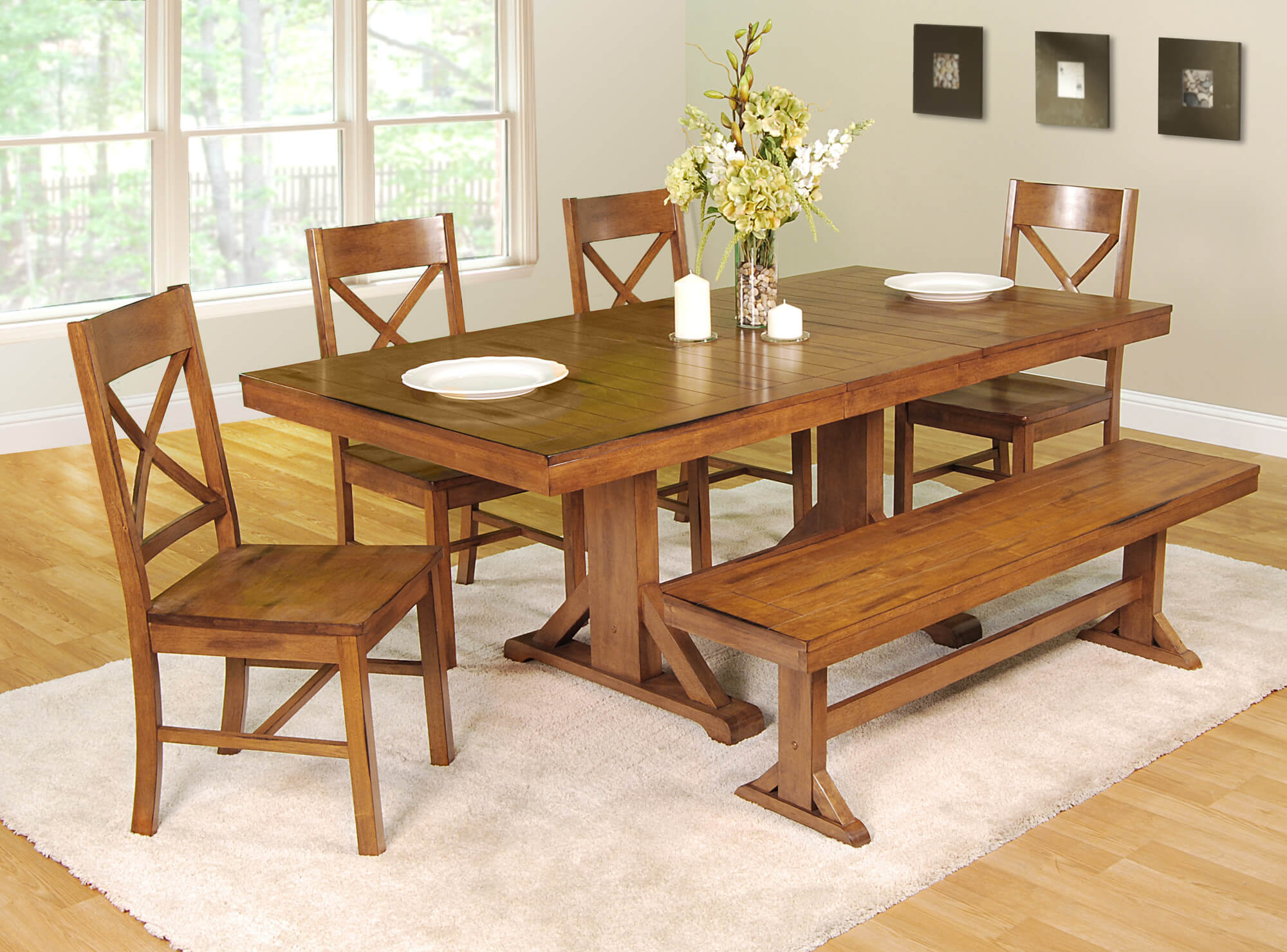 dining room sets bench seating kitchen dining chairs This dining room set with bench is going for the antique look with an antique brown