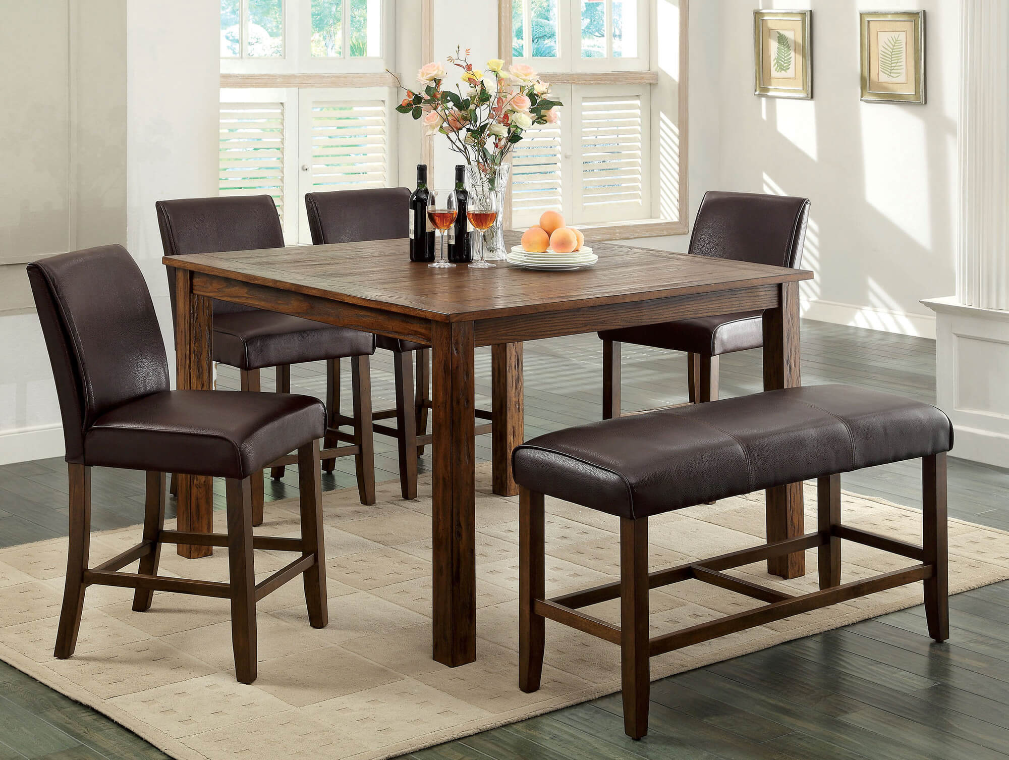 dining room sets bench seating rustic kitchen chairs Counter height rustic dining room set with bench Wood is dark oak finish constructed