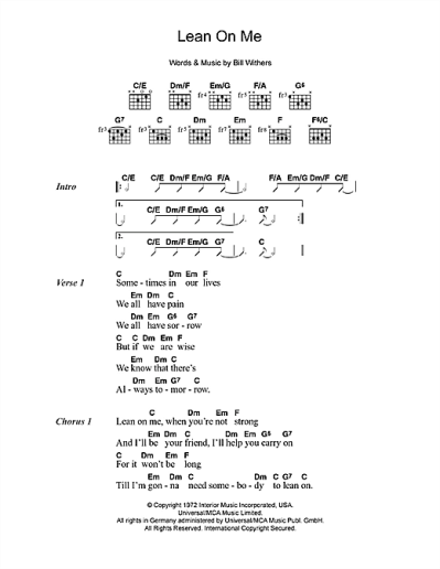 Lean On Me sheet music by Bill Withers (Lyrics & Chords – 49703)
