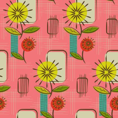 Mid Century Modern Dandelions ~ (Salmon) fabric - retrorudolphs - Spoonflower
