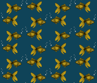 Goldfish Mustard and Teal fabric - bella_modiste - Spoonflower