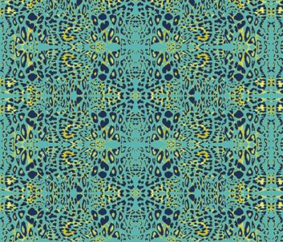 The Wild Side in Navy, Teal and Mustard fabric - azureelizabethdesign - Spoonflower