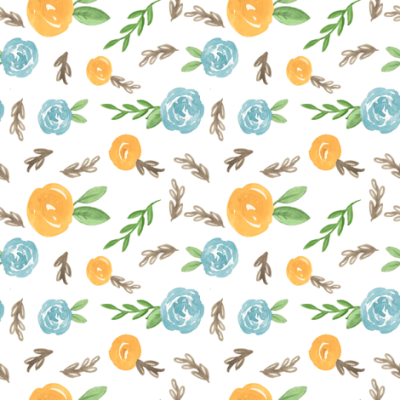 mustard and teal floral fabric - pacemadedesigns - Spoonflower