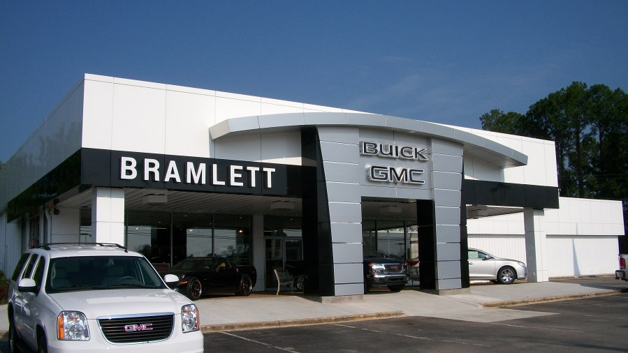 Bramlett Buick dry rain screen panel application SAF     Southern     Materials  Mike Bramlett  the owner  bought our 4000 series ACM panels for  his dealership in Decatur  AL  SAF fabricated white  silver  and black  panels