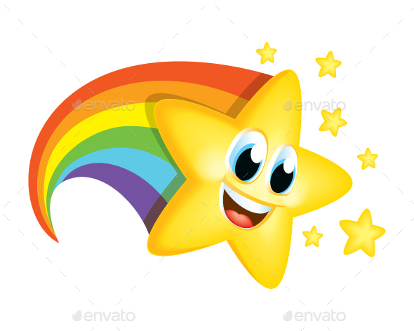 Cartoon Star with Rainbow Tail by Vectalex   GraphicRiver Cartoon Star with Rainbow Tail   Miscellaneous Characters