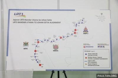 LRT3 alignment from Bandar Utama to Klang shown
