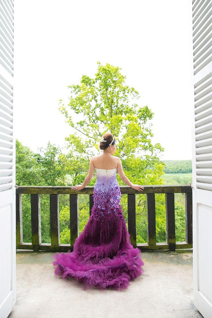 a purple ombre and floral wedding dress ombre wedding dress A Purple Ombre And Floral Wedding Dress