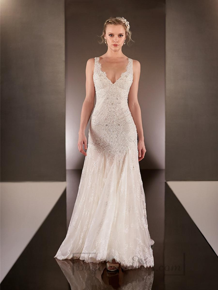 plunging neckline wedding dress Galia Lahav Fall floral applique plunging neckline wedding dress