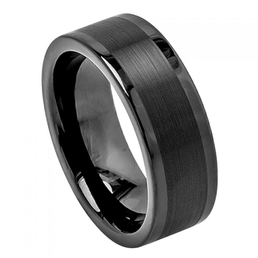 bling jewelry beveled edge mirror polished center 8mm comfort fit mens tungsten carbide wedding band ring size 14 tungsten wedding band