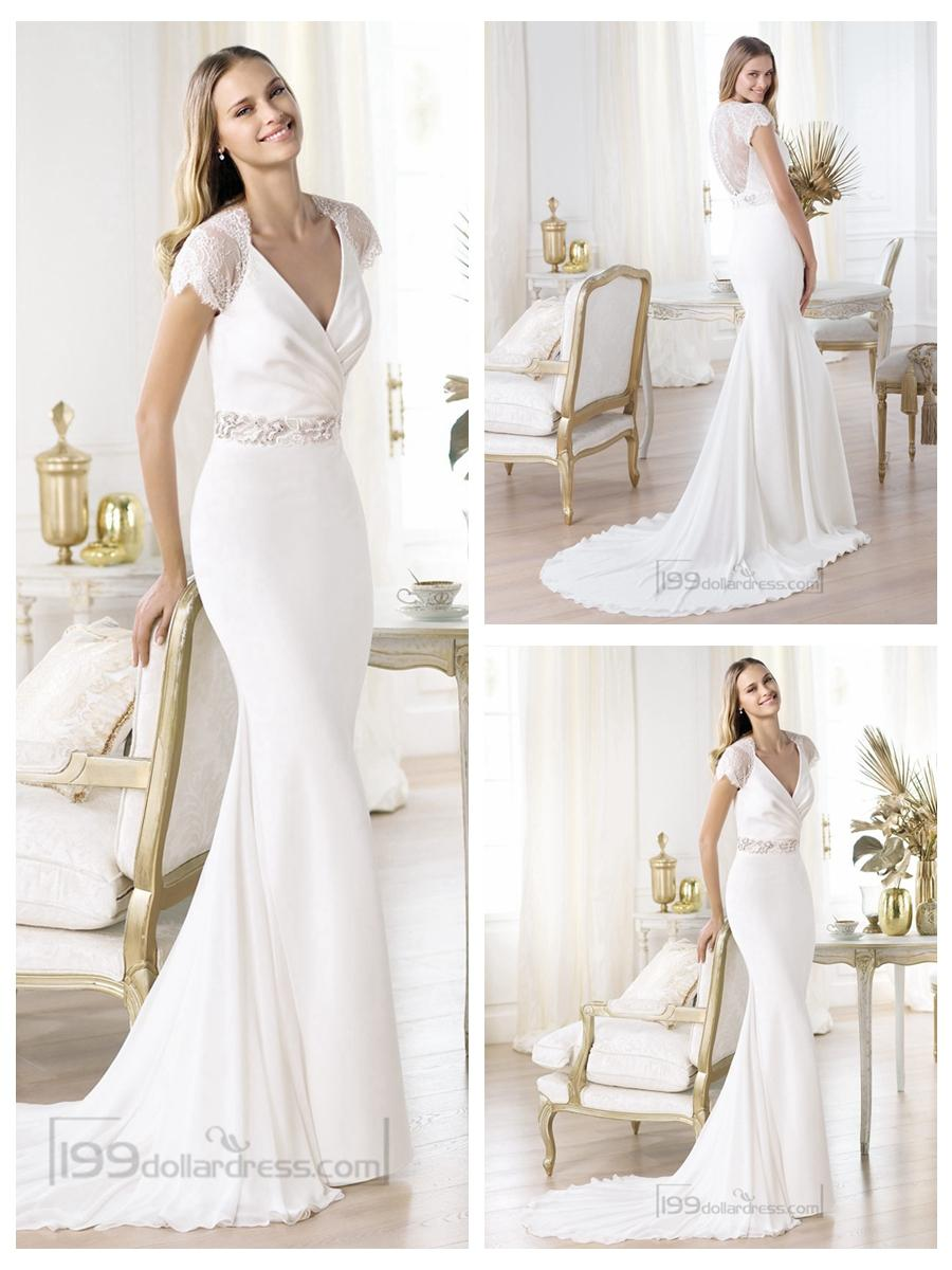 wedding dresses c short sleeve wedding dresses LAN TING BRIDE Trumpet Mermaid Wedding Dress Classic Timeless Elegant Luxurious Vintage