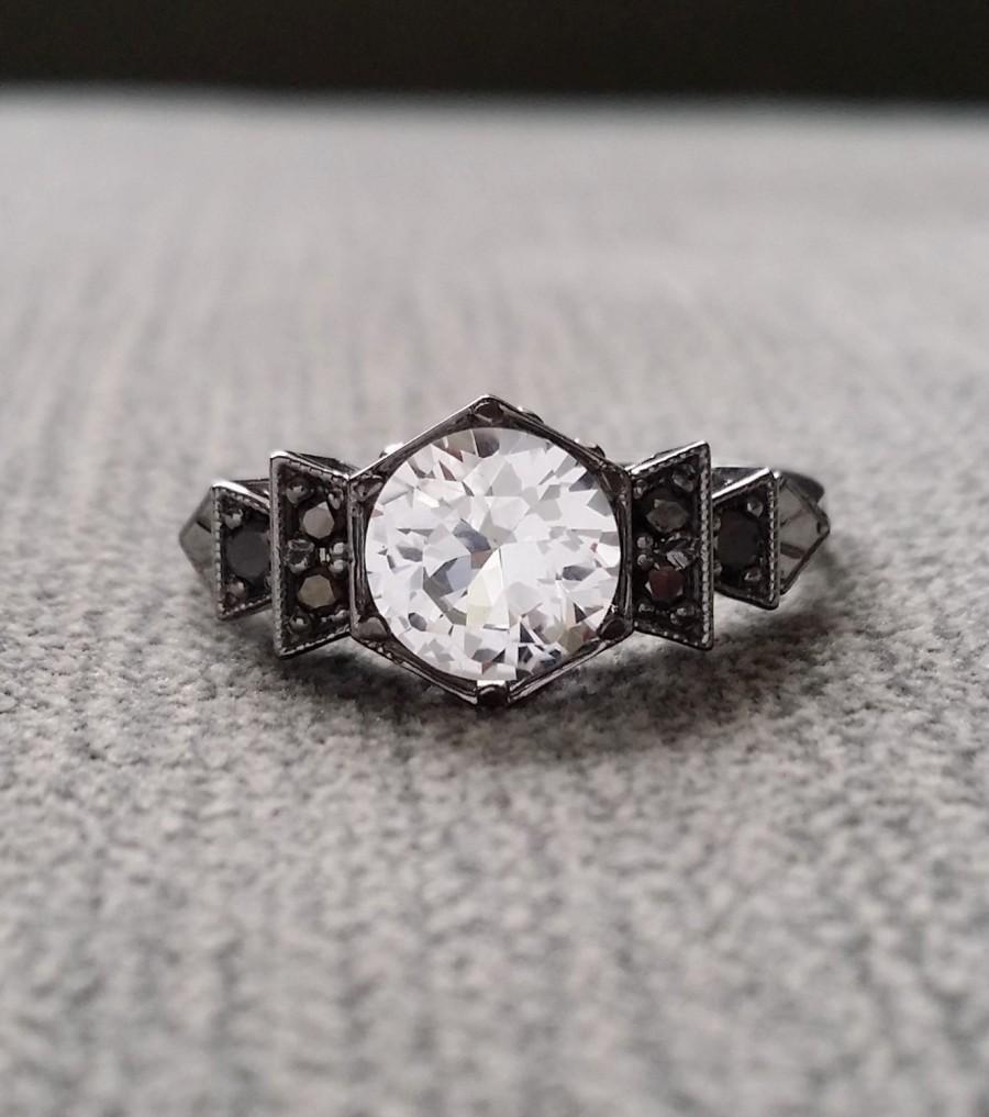 elegant silver rose engagement bridal white sapphire wedding rings Ring Set with White Sapphire Delicate Silver Diamond Alternative Rose zoom