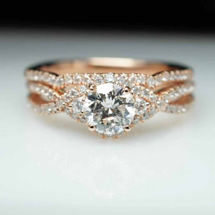 diamond wedding bands for her 14k rose gold curve half eternity matching ring plain edge rose gold wedding rings Custom Jewelry Rose Gold Wedding Rings Anniversary Band Marquise and Round CZ stone Unique Flower