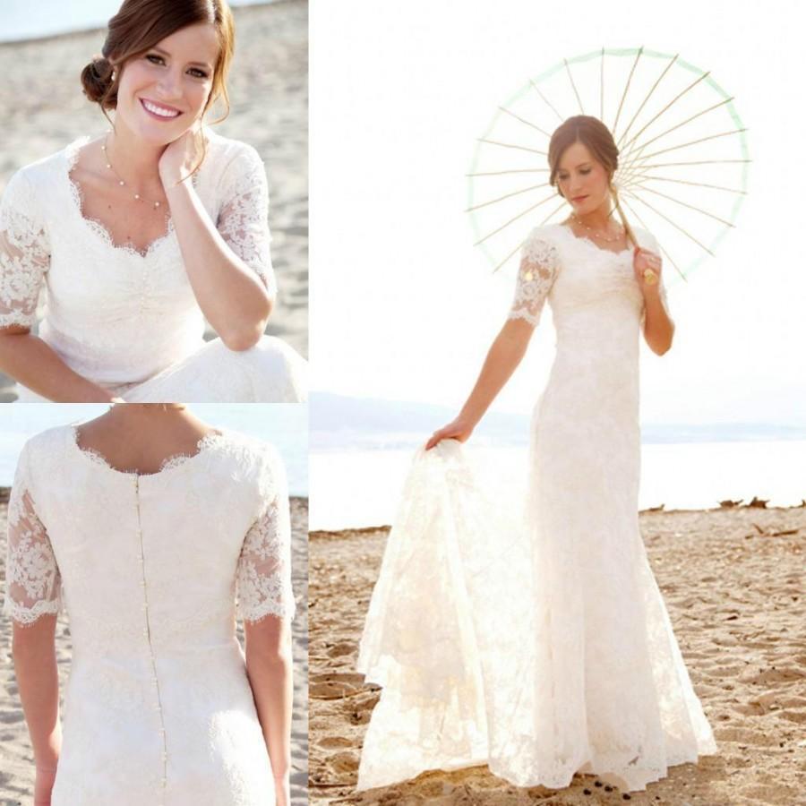 short wedding dresses with sleeves romantic wedding dresses with sleeves lace wedding dresses with sleeves short beach wedding dress Traditional White Wedding Dresses with Sleeves Photos