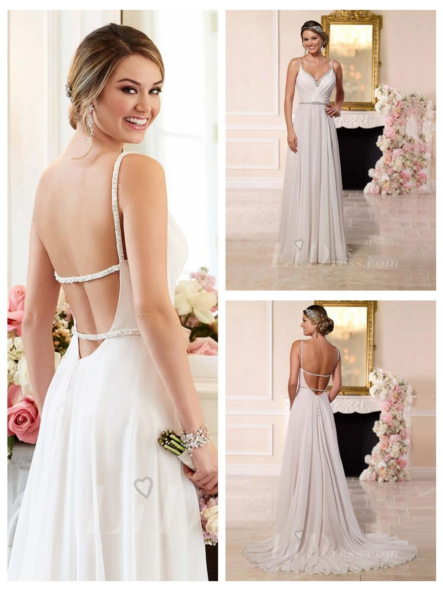 low open back wedding dresses low back wedding dresses Beaded Straps And Sweetheart Neckline Low Open Back Wedding Dress
