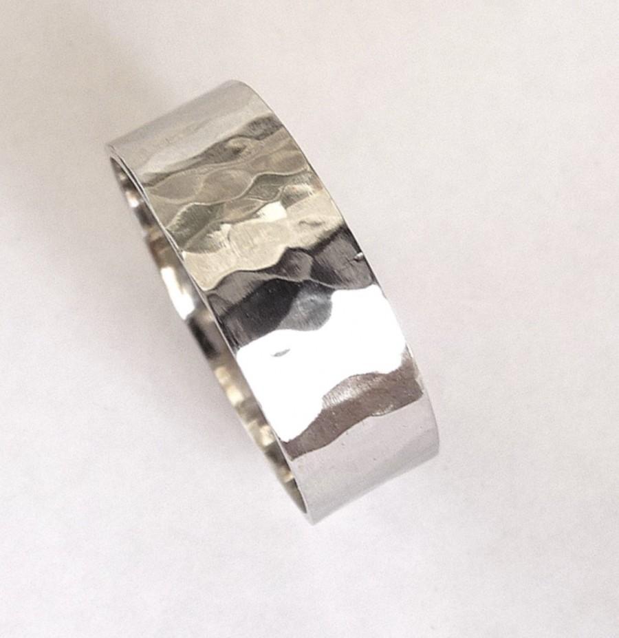 hammered milgrain comfort fit ring 14k white gold hammered wedding band Hammered Milgrain Comfort Fit Wedding Ring in 14k White Gold 6mm