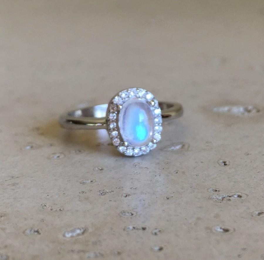 moonstone wedding ring sets Boho moonstone engagement ring