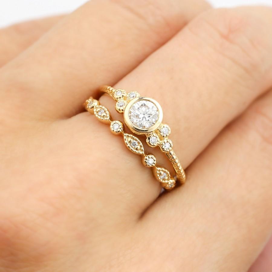 rose gold wedding ring set gold wedding ring sets Wedding Ring Set Roll Off Image to Close Zoom Window