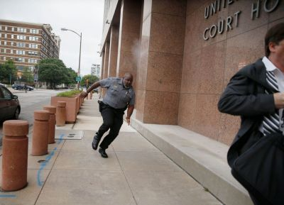 Man shot in gunfire exchange outside Dallas courthouse dies