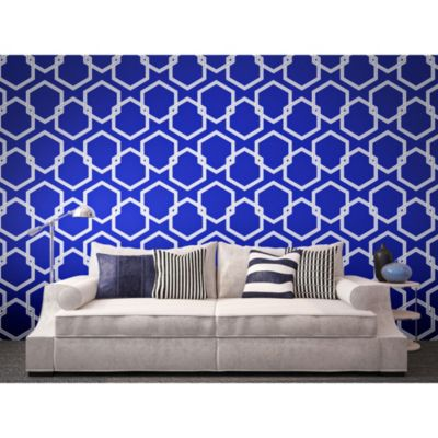 Buy Tempaper® Double Roll Removable Wallpaper in Honeycomb Metallic Blue from Bed Bath & Beyond