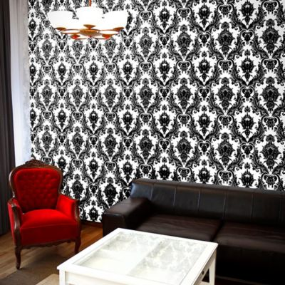Tempaper® Removable Wallpaper in Damsel White and Black - Bed Bath & Beyond