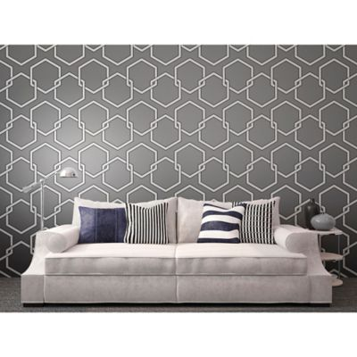 Tempaper® Removable Wallpaper in Honeycomb Grey - Bed Bath & Beyond