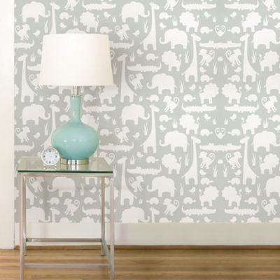 WallPops!® NuWallpaper™ It's A Jungle Peel & Stick Wallpaper in Grey - Bed Bath & Beyond