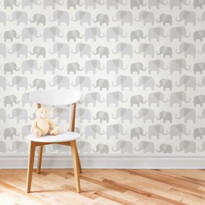 WallPops!® NuWallpaper™ Elephant Parade Peel & Stick Wallpaper in Grey - Bed Bath & Beyond