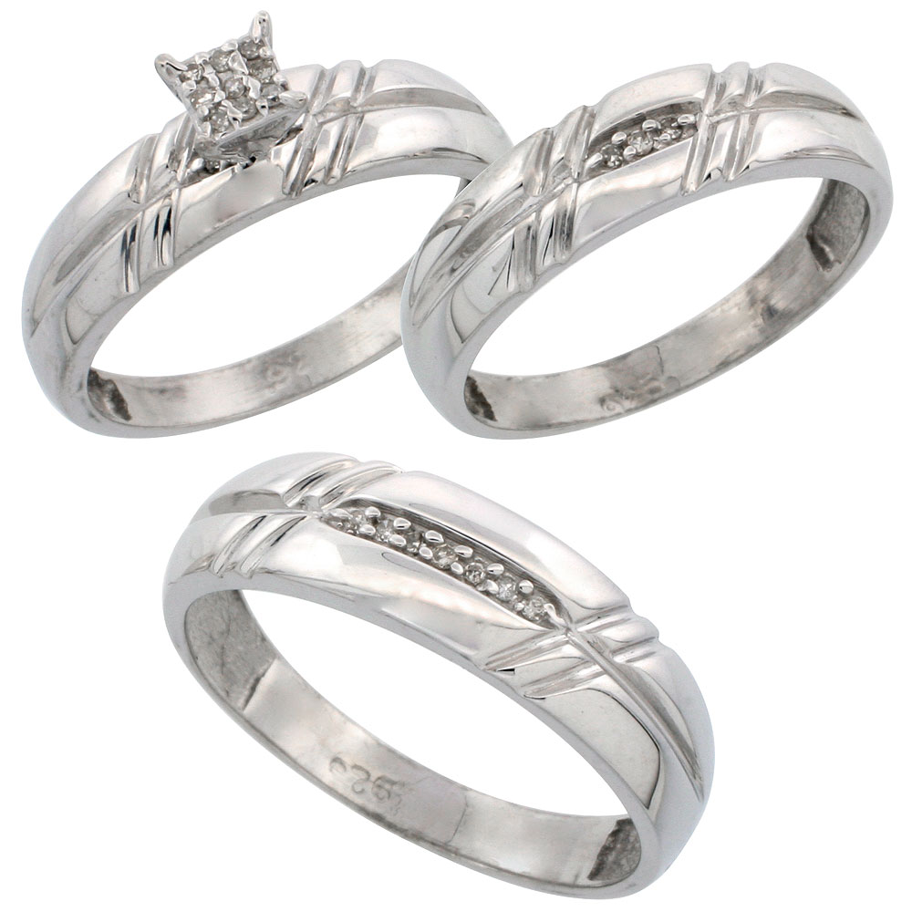 home wedding bands sets Sterling Silver Diamond Trio Wedding Ring Set His 6mm Hers 5 5mm Rhodium finish