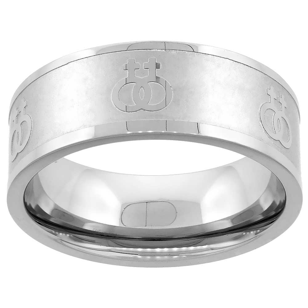 home stainless steel wedding bands Stainless Steel Lesbian Symbols Ring 8mm Wedding Band sizes 5 9