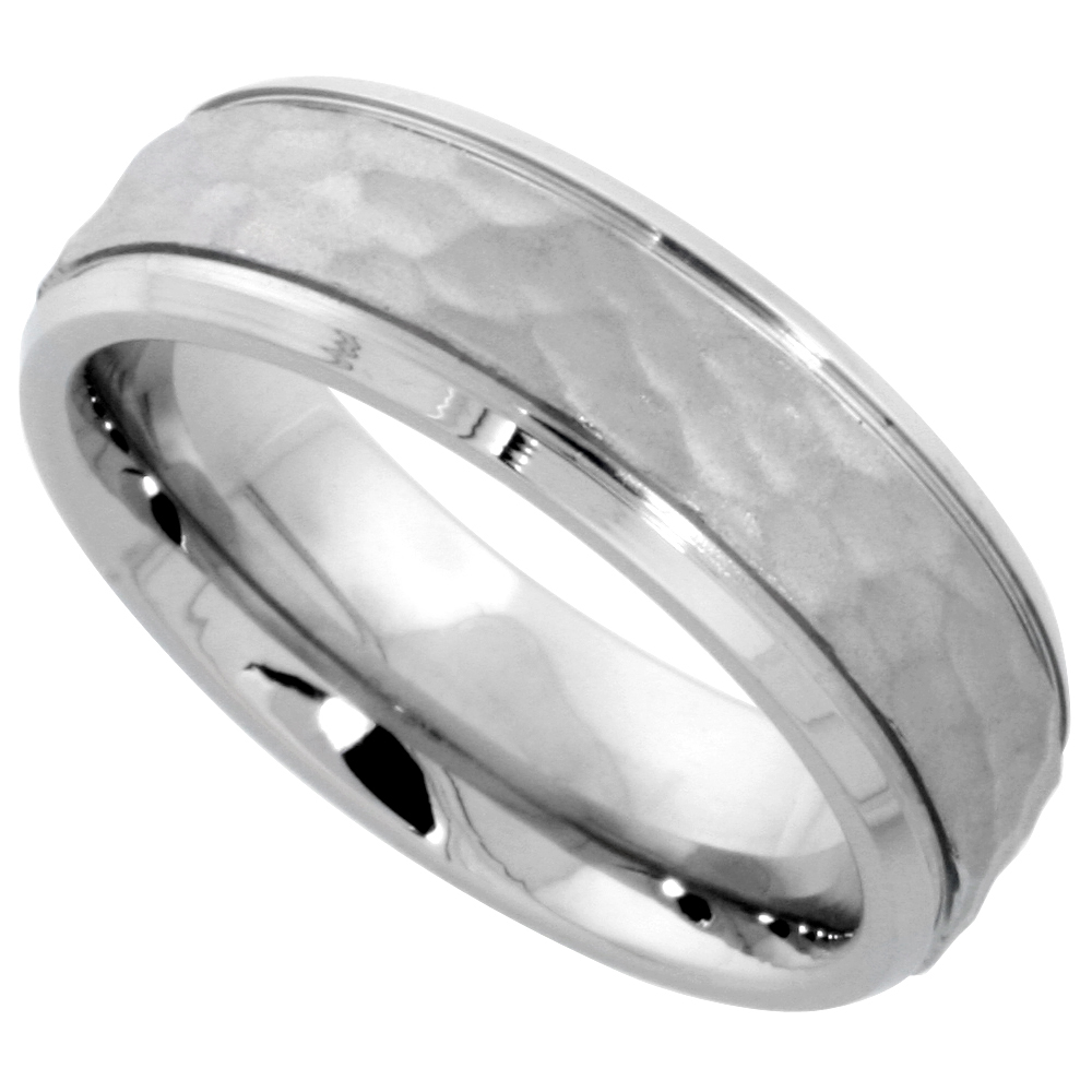 home hammered wedding band Surgical Stainless Steel 6mm Hammered Wedding Band Ring Grooved Beveled Edges Comfort Fit sizes