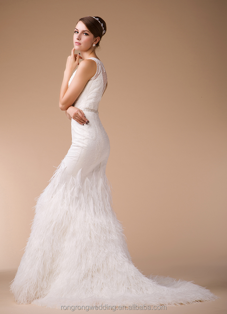 ostrich feather wedding dress feathered wedding dress Whole Hm Winter Open Back Ostrich Feather Mermaid