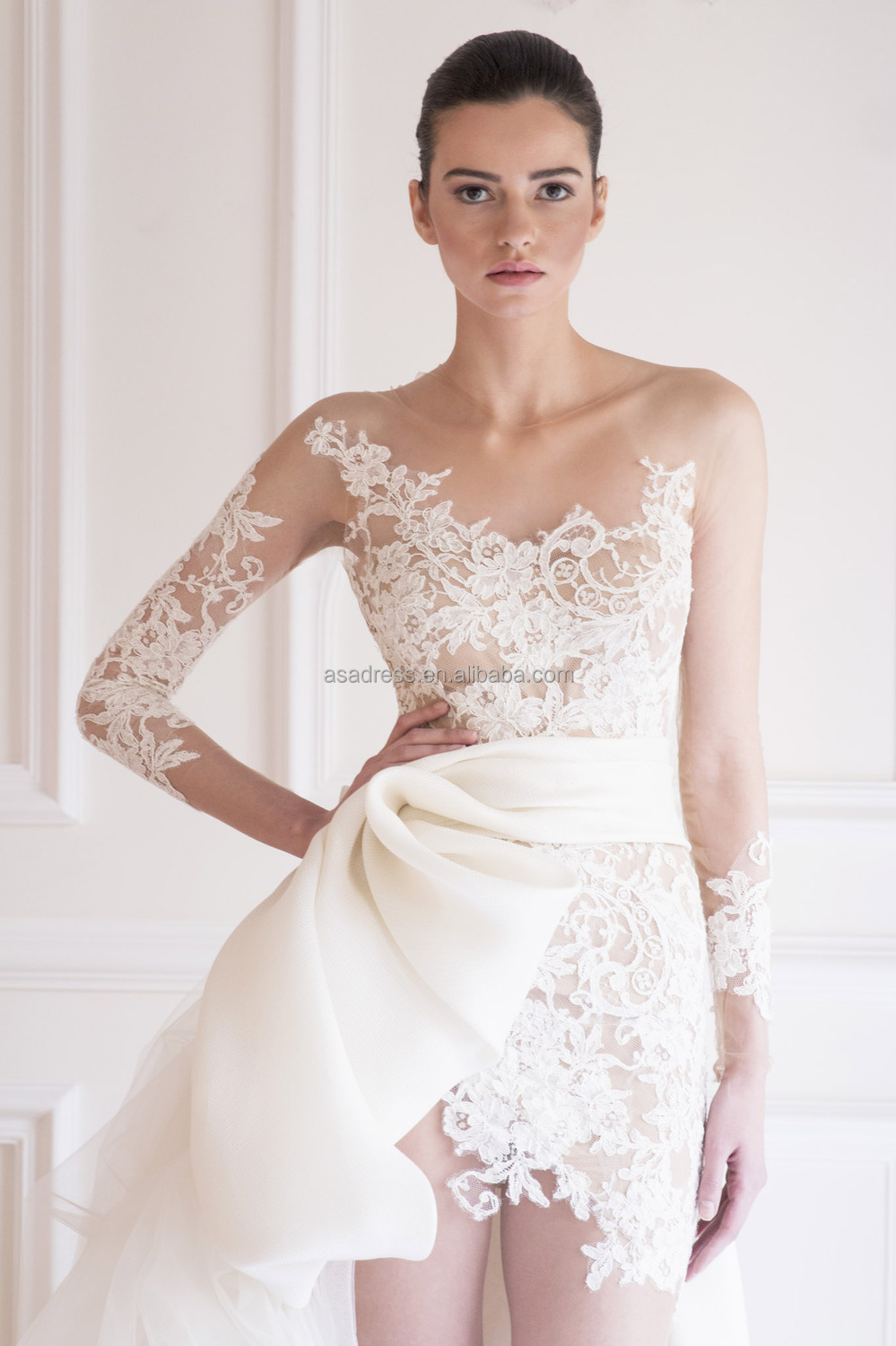 short wedding dresses with trains sheer lace wedding dress Latest Long Sleeve Bridal Gown Short Wedding Dress With
