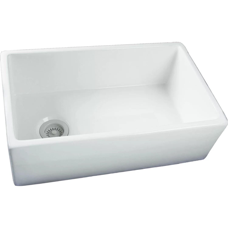 Barclay 29.75 x 17.88 Single Bowl Fire Clay Farmhouse Kitchen Sink