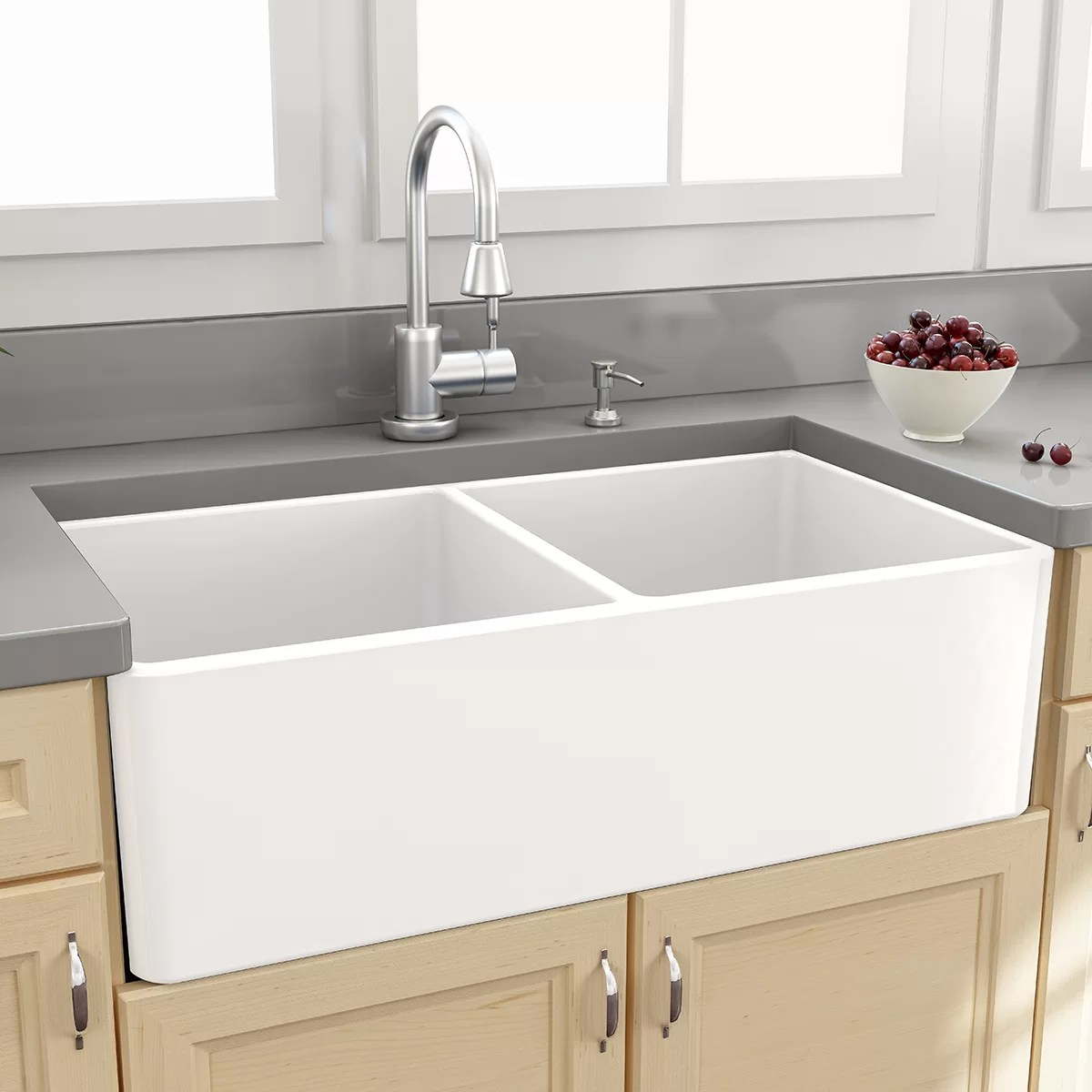 Nantucket Sinks Cape 33 x 18 Double Bowl Kitchen Sink with Grids