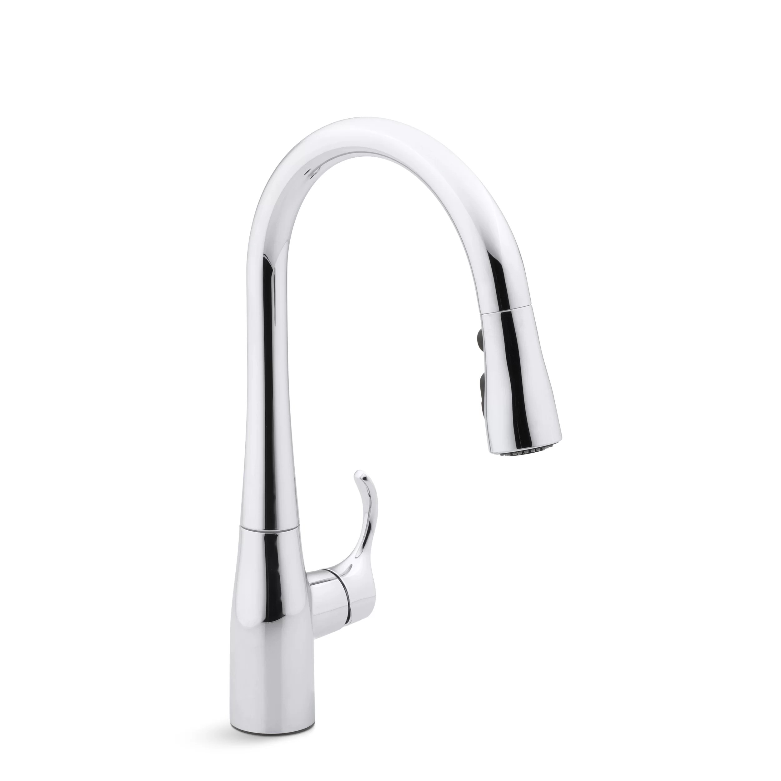 kitchen faucets c faucets kitchen Simplice Single Hole Kitchen Sink Faucet with 15 3 8 Pull