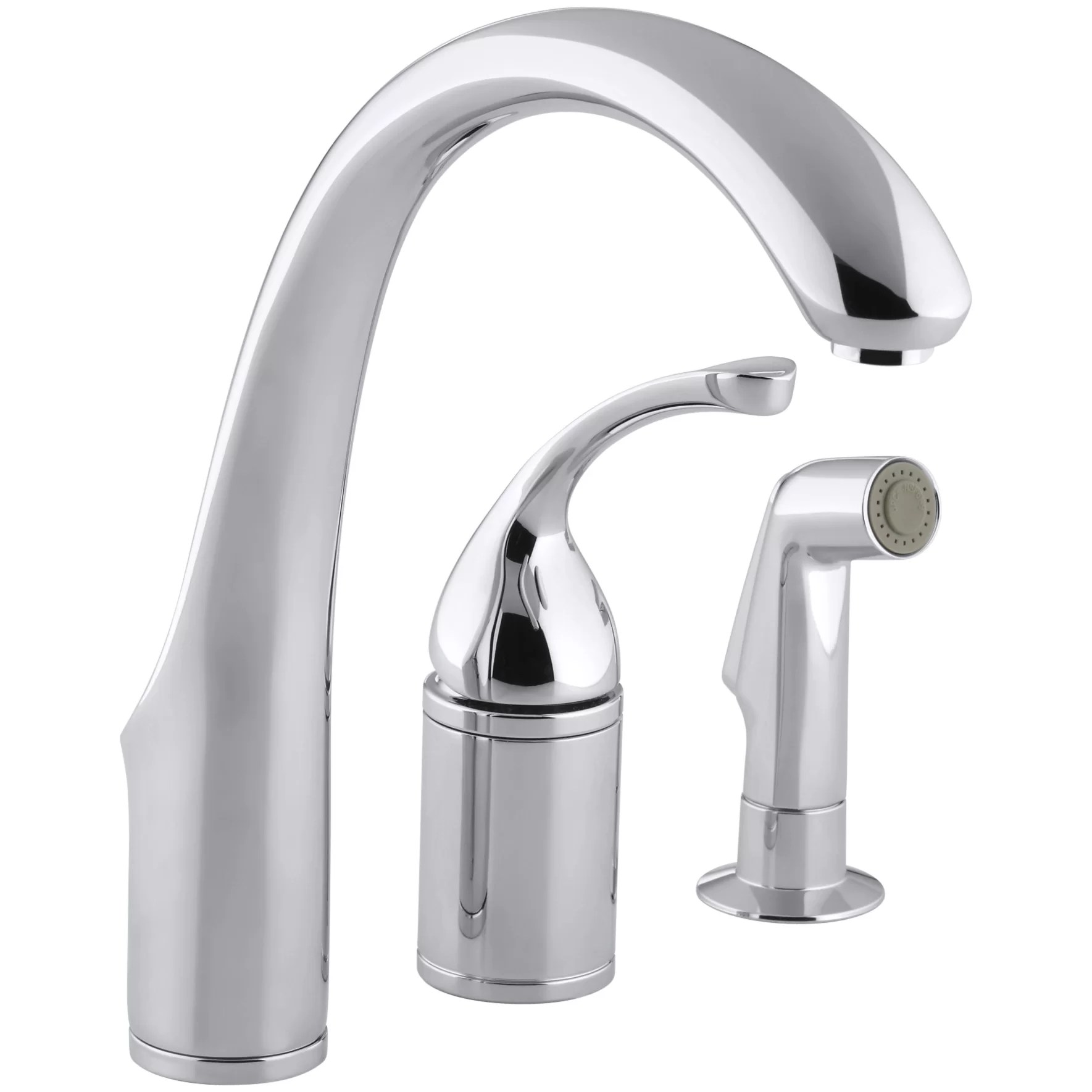 Kohler Fort%2525C3%2525A9 3 Hole Remote Valve Kitchen Sink Faucet with 9 Spout with Matching Finish Sidespray K 10430