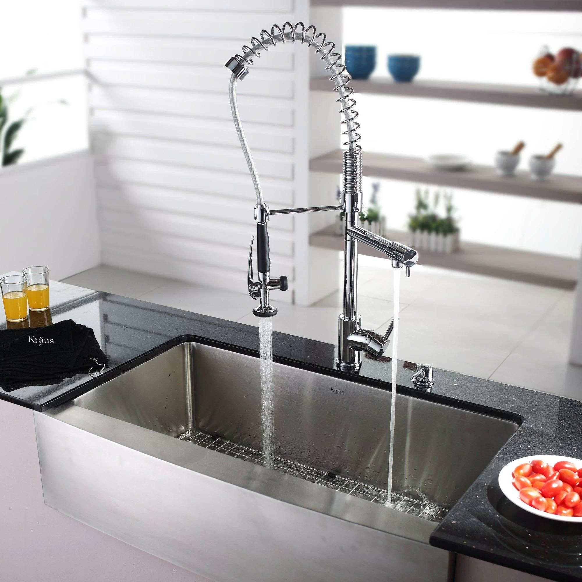 Kraus 35.88 x 20.75 Farmhouse Kitchen Sink with Faucet and Soap Dispenser