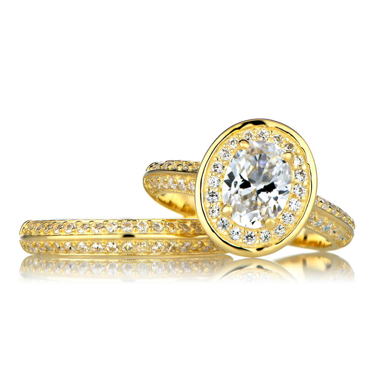 14k yellow white gold leaves round cz wedding ring set gold wedding ring sets Accent your life with beautiful white and yellow gold wedding rings