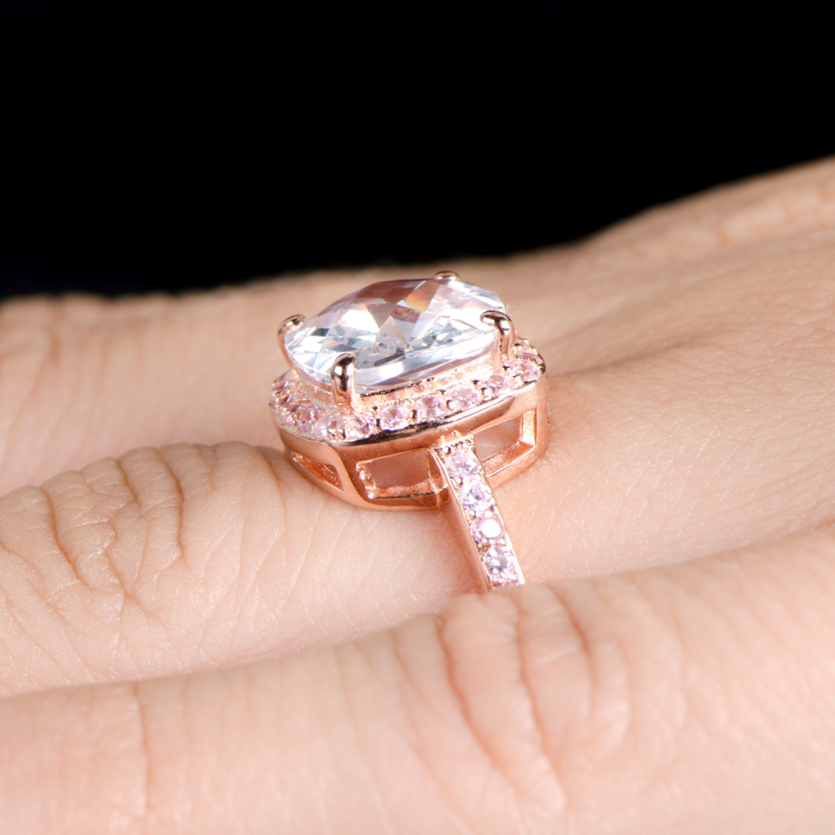 diamond engagement ring 3 4 ct tw princess cut 14k rose gold rose gold wedding rings Hover to zoom