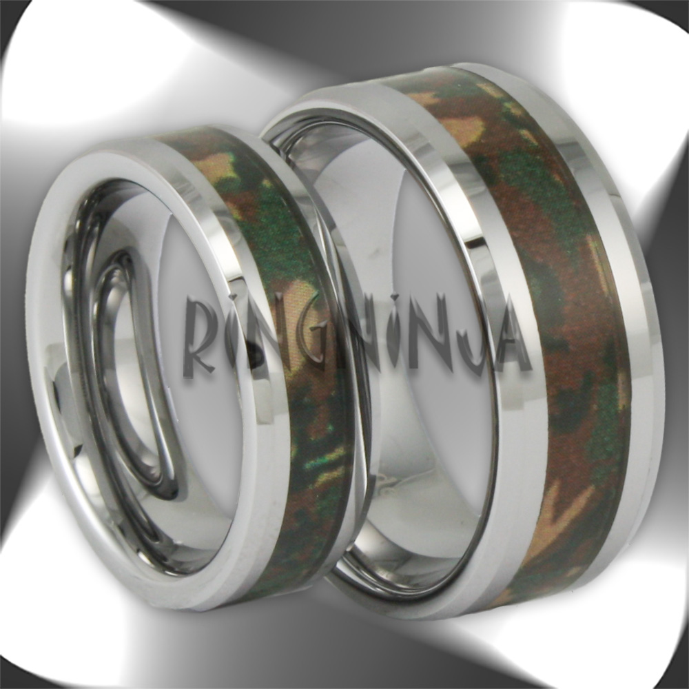 camo rings camo wedding bands Camo Wedding Band With Deer Antler And Kingwood Tungsten Ring