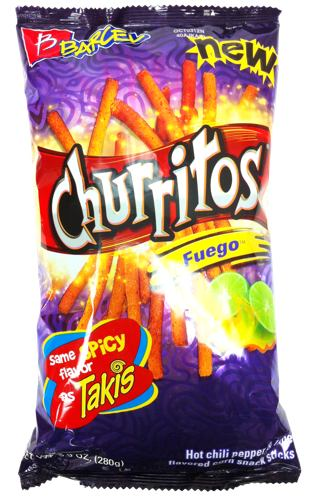 Barcel Churritos Fuego Hot Chili Pepper and Lime 9.9 oz (Pack of 3)