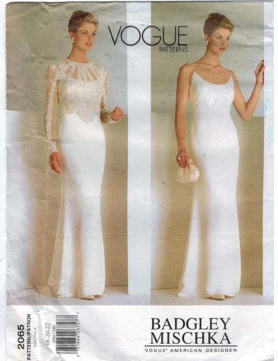 Vogue Pattern 2065 Badgley Mischka Evening Wedding Gown ...